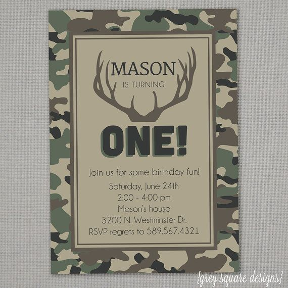 Camo Birthday Invitation Grandbabies Pinterest Birthday Camo