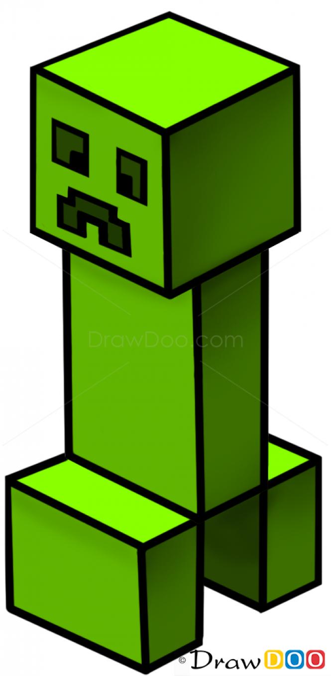 How To Draw Creeper, Minecraft Pro