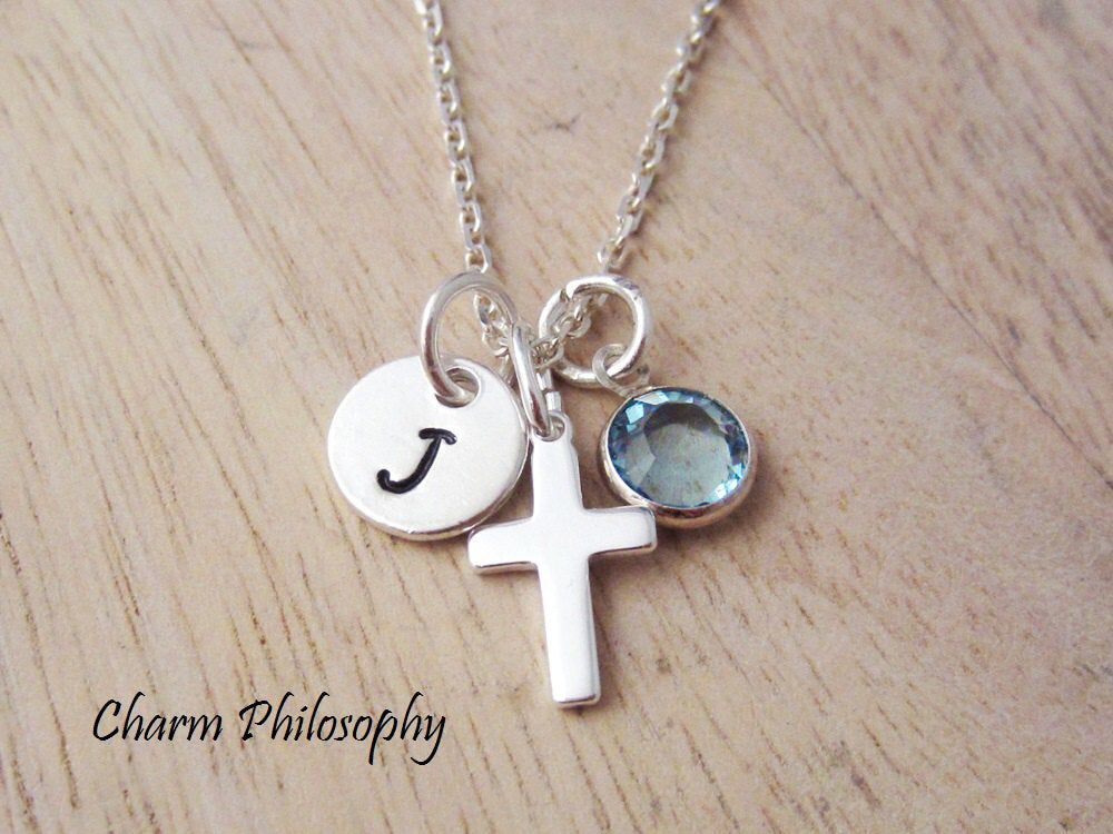Photo of Small Cross Charm Necklace – Dainty 925 Sterling Silver Crucifix Jewelry – Personalized Initial and Swarovski Birthstone