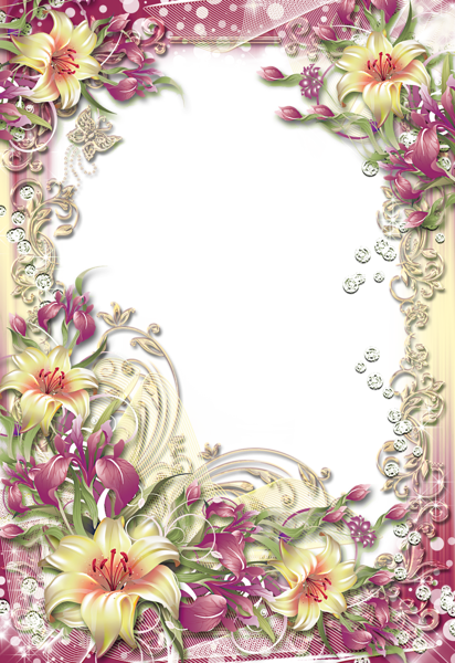 Transparent PNG Photo Frame With Yellow Flowers