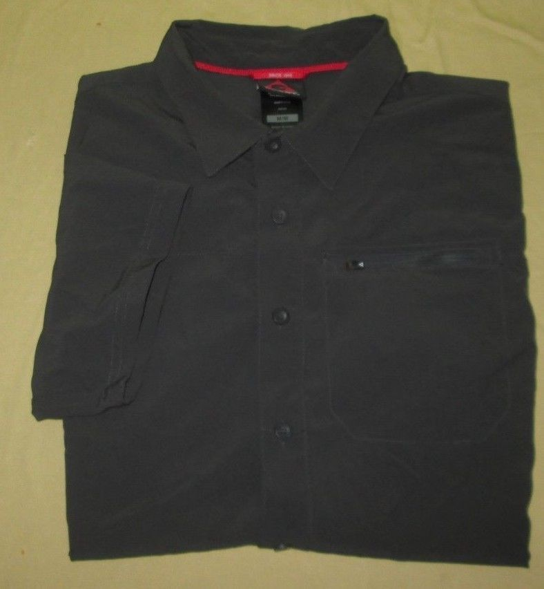 Men's GERRY  Hiking Fishing Shirt  Sz M Medium - Dk Gray - Poly Spandex Blend #Gerry #ButtonFront
