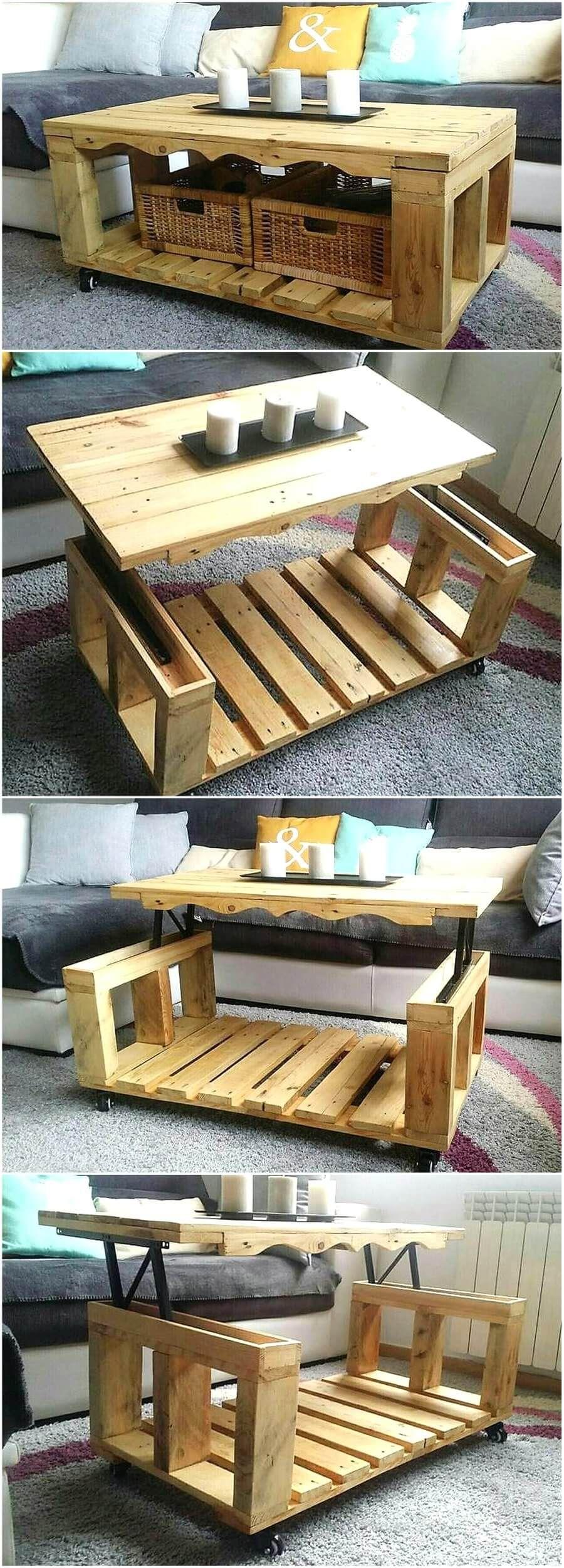Repurposed Wood Pallets Lift Top Coffee Table Möbel Aus Paletten Couchtisch Design Couchtisch Palette