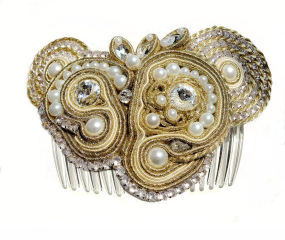 Bridal soutache hairpiece,bridal hair accessories,soutache comb,crystal comb,bridal hairpiece in handmade, wedding hair piece,bridal clip https://www.etsy.com/listing/155132055/bridal-soutache-hairpiecebridal-hair?ref=shop_home_active