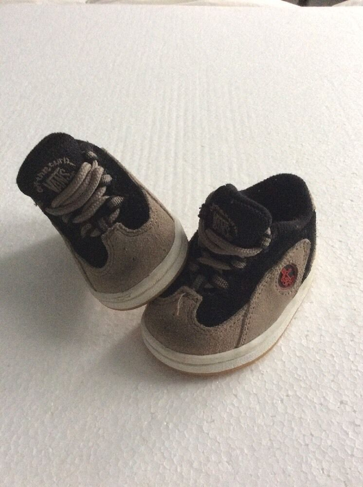 ca7a664c85 Baby Infant Vans Off the Wall Shoes Beige Black Suede Canvas Sneakers 2.5 m   VANS  CasualShoes