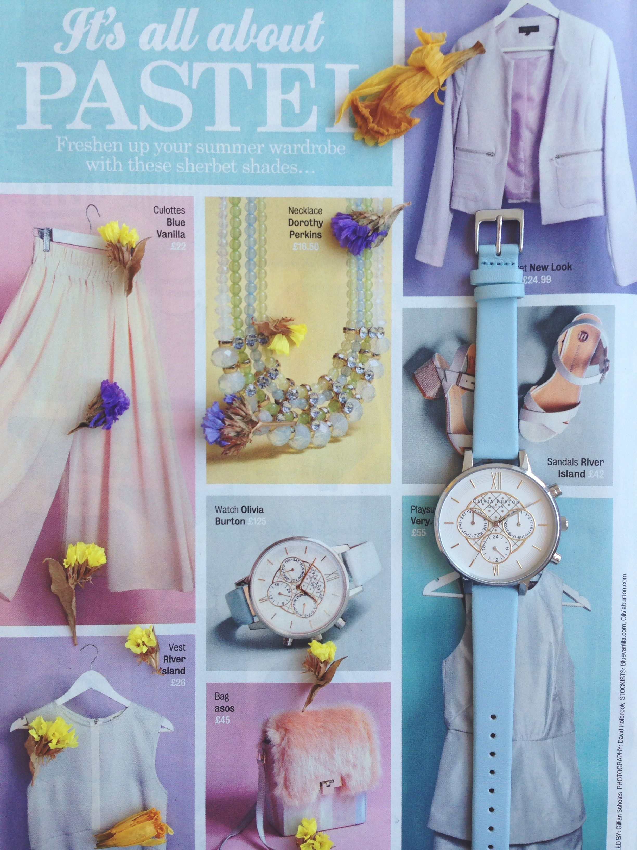 Its All About Pastel...Our Big Dial Chrono Gold Detail Powder Blue and Silver has been featured in New Magazine. #oliviaburton