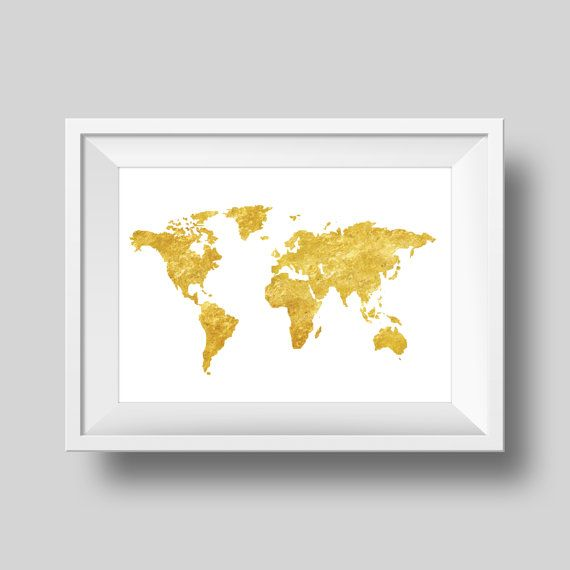 Gold foil world map gold foil map world map decor globe art print gold foil world map gold foil map world map decor globe art print gumiabroncs Choice Image