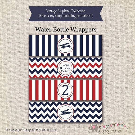 Airplane Water Bottle Labels Red And Navy By