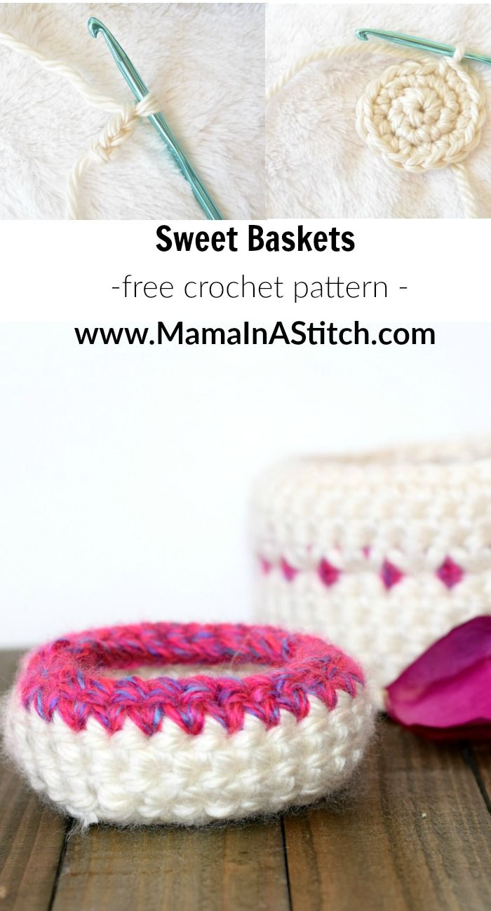 Make these sweet crochet baskets with Lion Brand Hometown USA! They ...