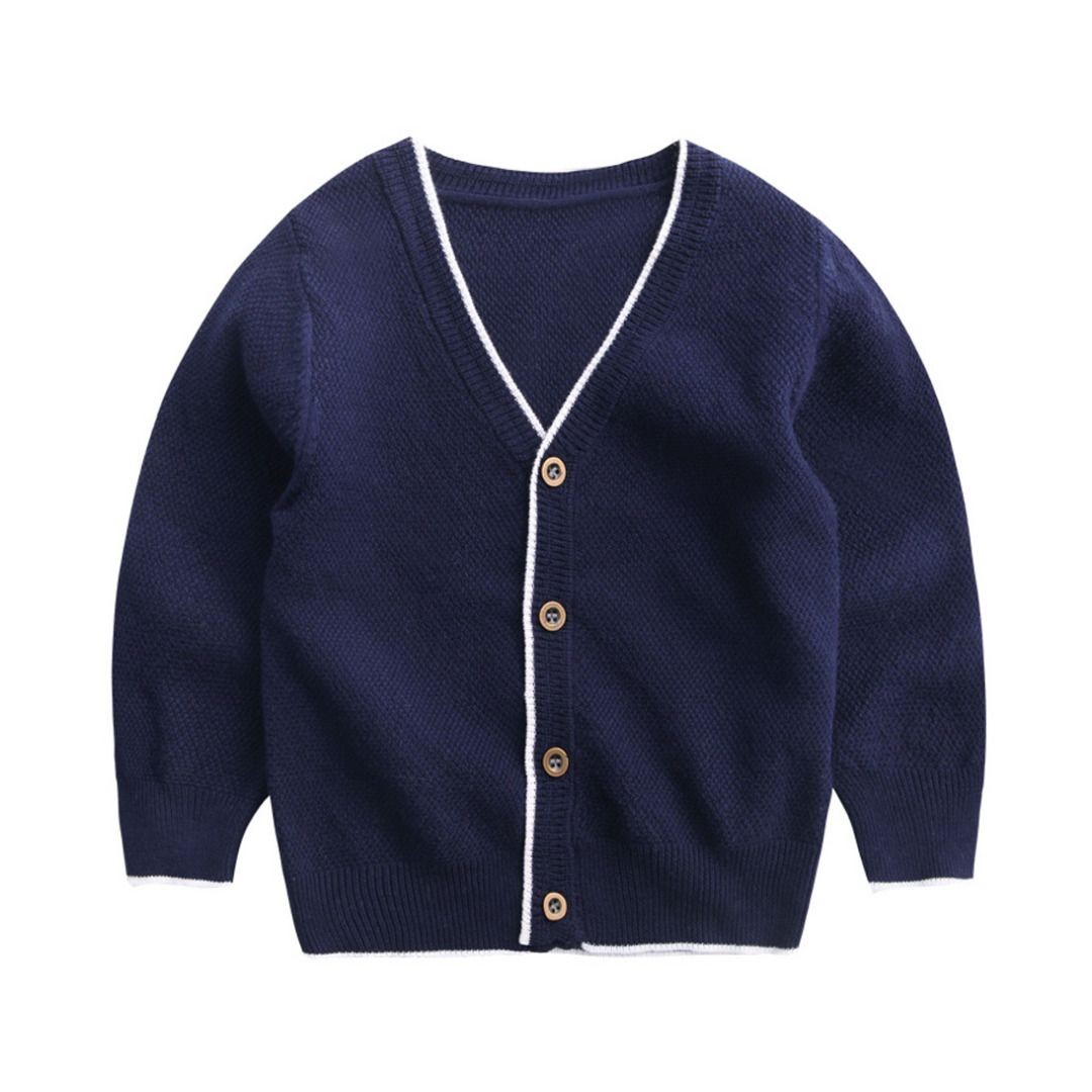 Essential Solid Navy Blue Button Front Knitted Cotton Cardigan for ...