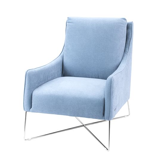 Colt chair in aqua fabric.