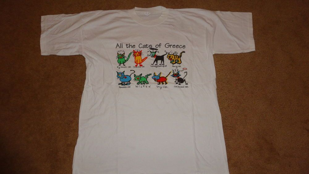 c9afb369 THE CATS OF GREECE T-SHIRT SZ XL L@@K FUNNY #NoBrand #GraphicTee | T ...