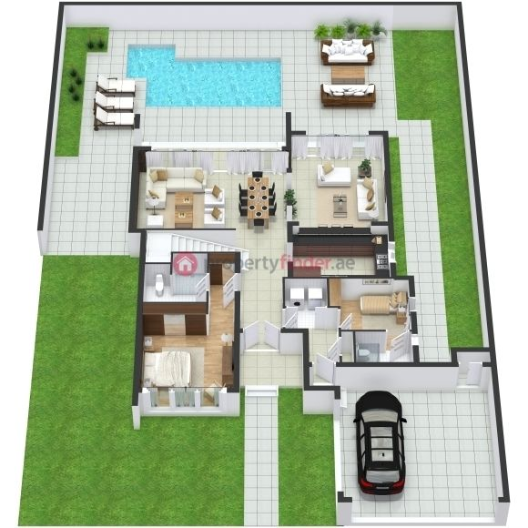 Grundriss villa 3d  5 Bedroom Villa 3D Floor Plan in Sidra at Dubai Hills Estate Phase ...