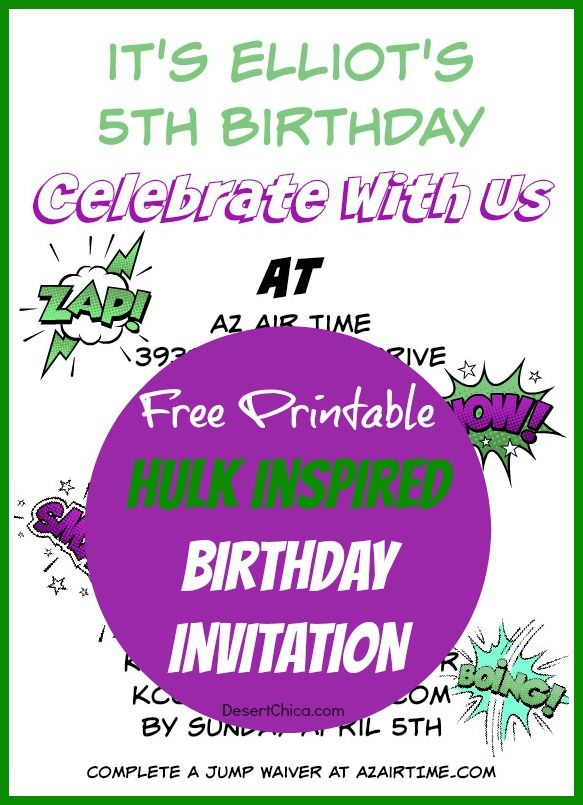 Hulk Birthday Invitations Free Printable Template – Hulk Birthday Invitations