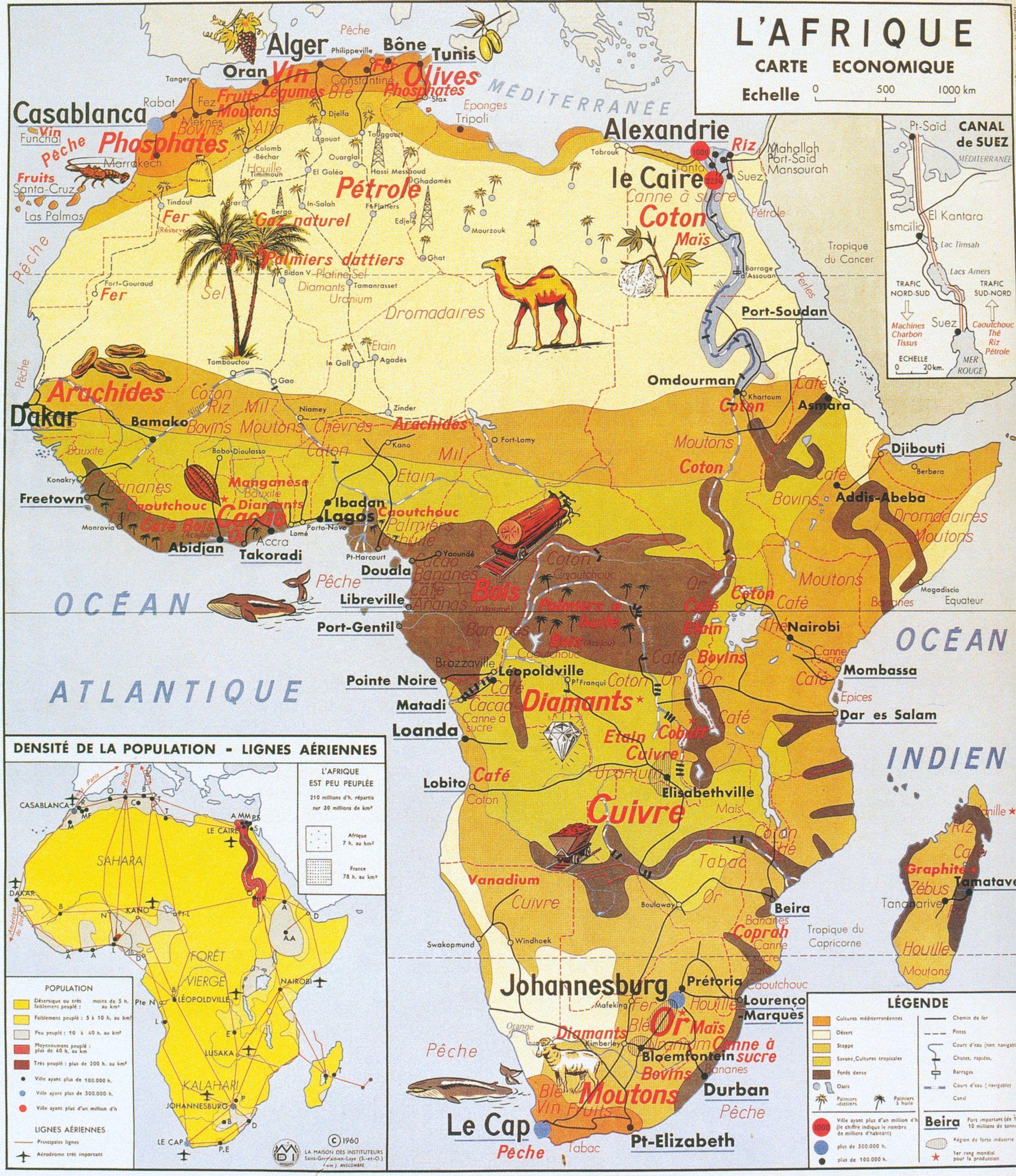Carte Afrique Ressources Naturelles.L Afrique Carte Economique Afryka Carte Afrique