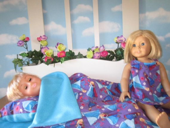 CLOTHES  FOR  BITTY BABY OR AMERICAN GIRL DOLL PURPLE FROZEN SLEEPING BAG