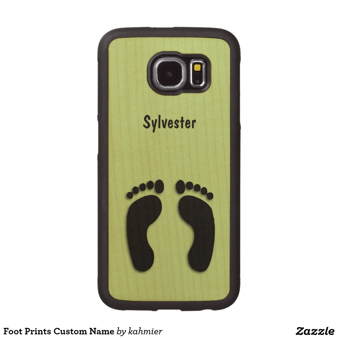 Bare Feet Prints Carved Wood Samsung Galaxy S6 Case