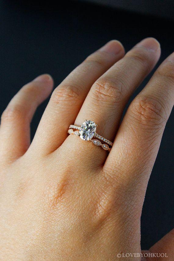 Rose Gold Oval Moissanite Engagement Ring Milgrain Wedding Band Set Forever Brillia Moissanite Engagement Ring Oval Engagement Rings Oval Wedding Band Sets