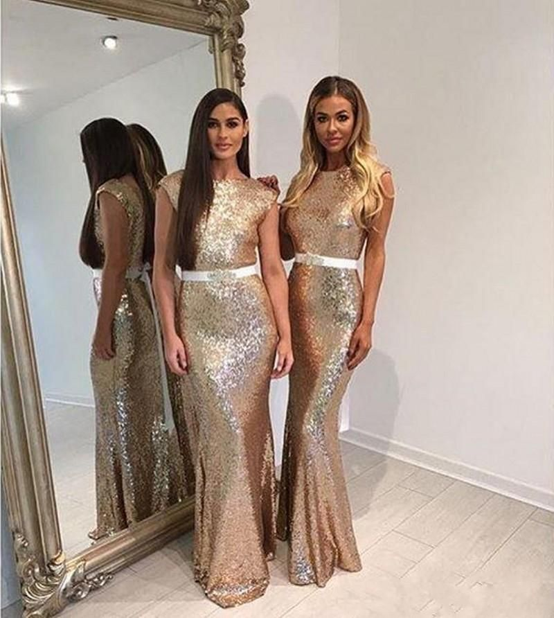 Sparkle Champagne Sequins 2016 New Cheap Mermaid Bridesmaid