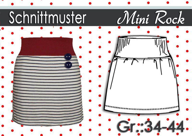 Schnittmuster Mini Rock aus Jersey Gr:34-44 | Pinterest ...