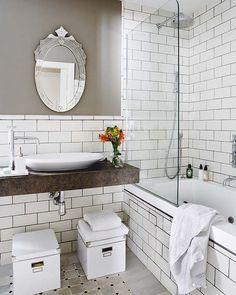 Tile White Tiled Bathrooms