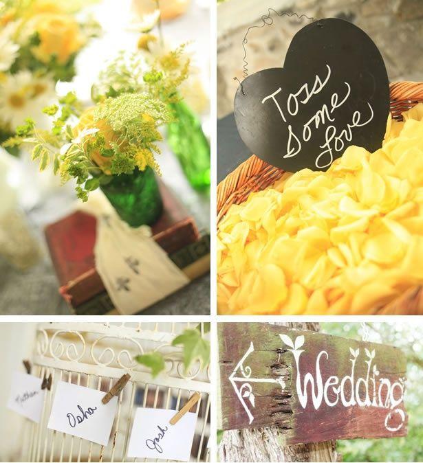 Shabby Chic, Tennessee Summer Wedding #yellow #wedding #details