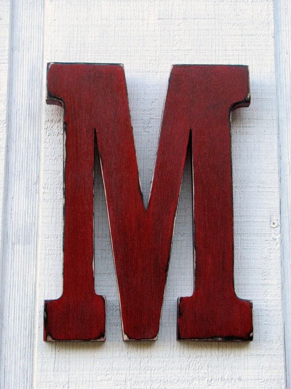 Wooden Wall  Letter M Distressed True Red12 di borlovanwoodworks, $33.00