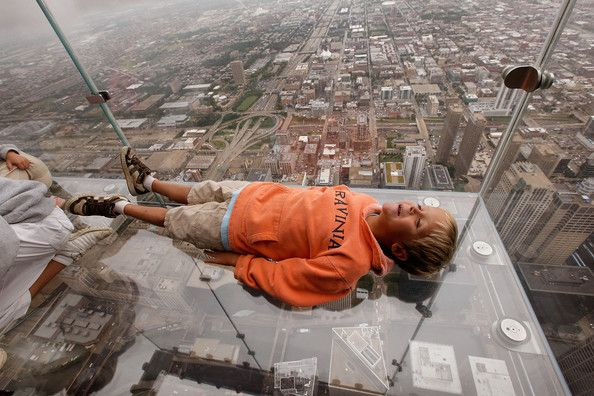 Skyscraper glass balconies on floor 103 willis tower chicago