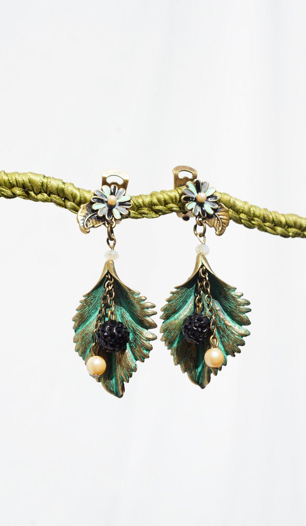 remise spéciale de sélectionner pour authentique chaussures exclusives Clips boucles d'oreilles clips vert & bronze boule strass ...