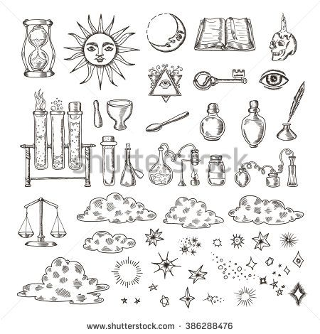 Set of trendy vector alchemy symbols collection isolated on white background. Hand drawn retro elements for design needs. Religion, philosophy, occultism, magic. Vintage vector illustrations.