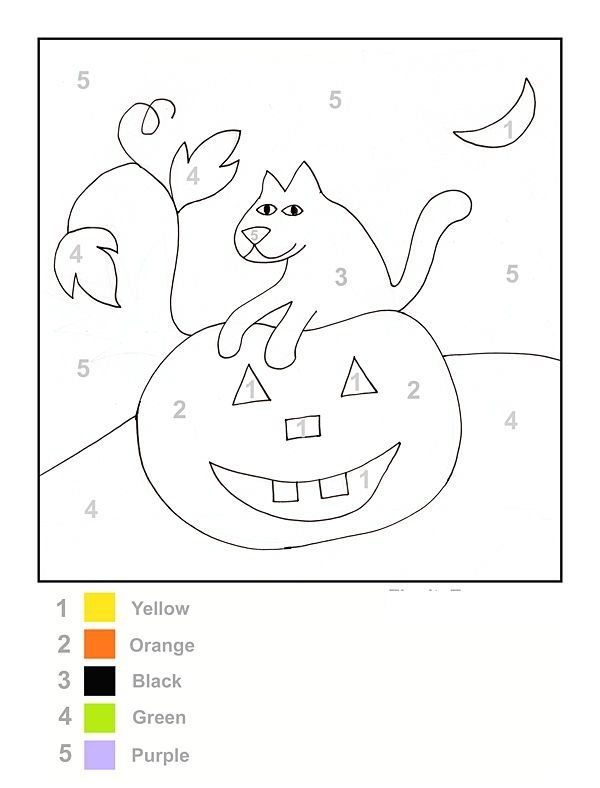 color by number halloween worksheet coloring pages – Preschool Halloween Worksheets
