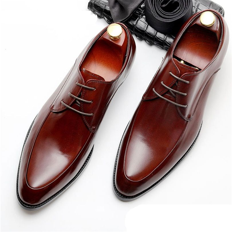 Mens Bullock genuine leather shoes luxury brand black men party wedding  dress shoe Business Leather Shoes 9503a7b4c853