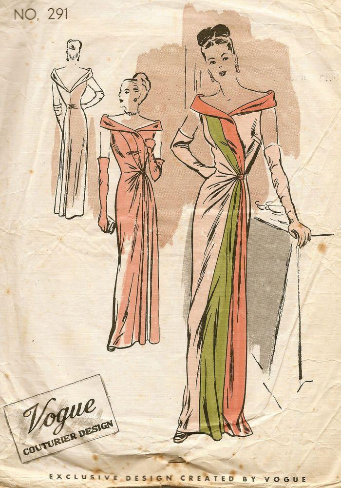 1940s Vintage VOGUE Sewing Pattern B32 EVENING DRESS (E1225 ...
