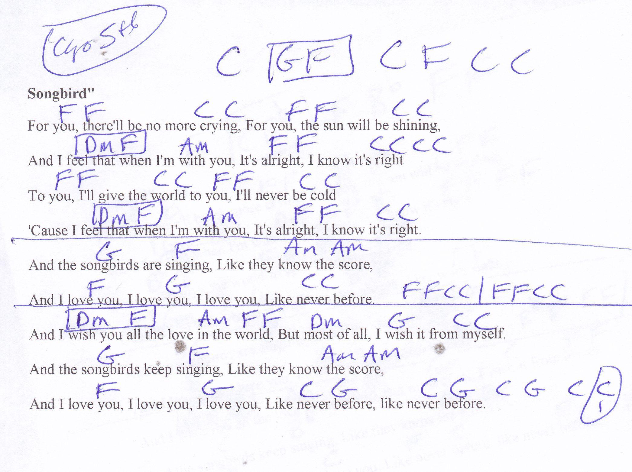 Songbird Fleetwood Mac Guitar Chord Chart In C Capo 5th Listen