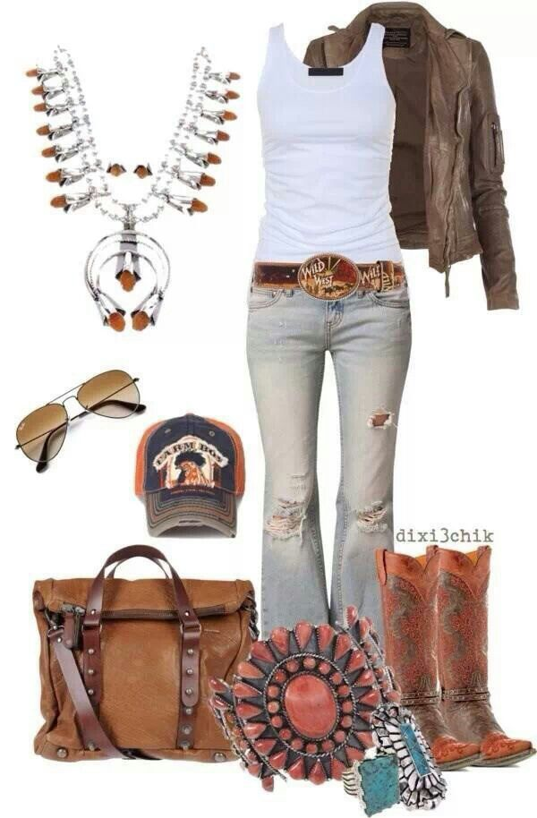 no to jewelry bag and boots love the outfit  country