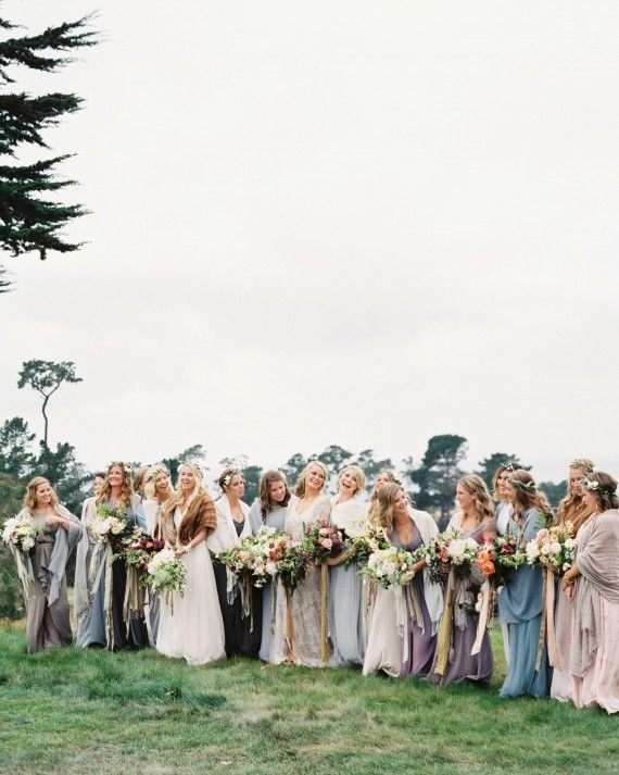 Photography:Erich McVey // Location and Catering: Monterey Peninsula Country Club // Event planning and design: Coastside Couture //Flowers: Sarah Winward //  The bride only had one request when it came to the bridesmaids' dresses—that the colors be muted and dusky.  Ginny also gave her girls the choice of flowers.