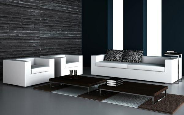Decoration Noir Et Blanc Contemporain Table Basse Salon