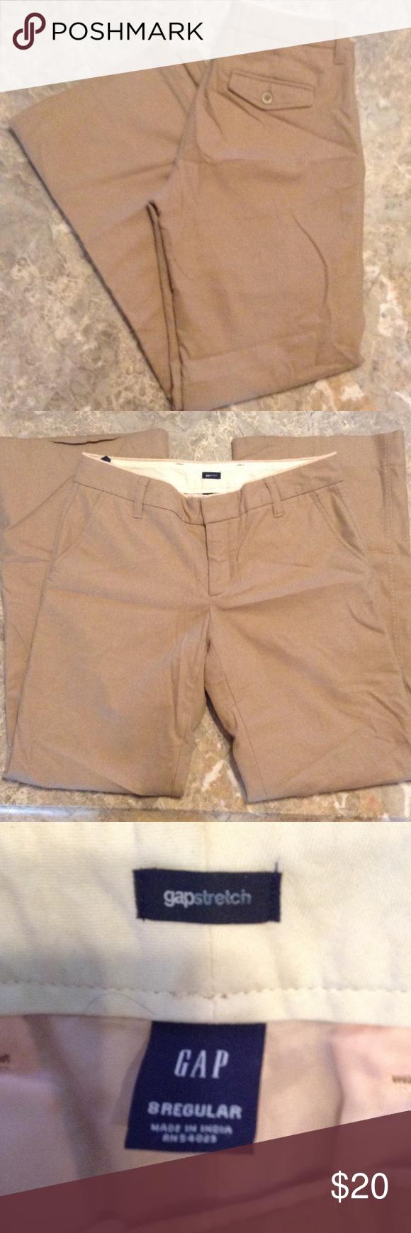 "Khaki GAP stretch wool blend pants sz 8 Nice comfy pants.  Rise 8 1/2"" & inseam 32"".  Bundle 3 or more & save! GAP Pants"