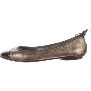 9d045557223 Pre-owned Chanel Metallic Cap-Toe Flats
