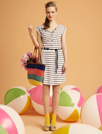 Cute cute! Yellow socks with black and white stripey dress. I must recreate this.