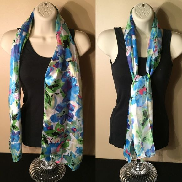 """Pretty Sheer Floral Scarf Used in great condition! This measures 12.5""""W x 60""""L. I only saw one pull as shown in the last pic but this is not noticeable, especially when the scarf is styled. Accessories Scarves & Wraps"""