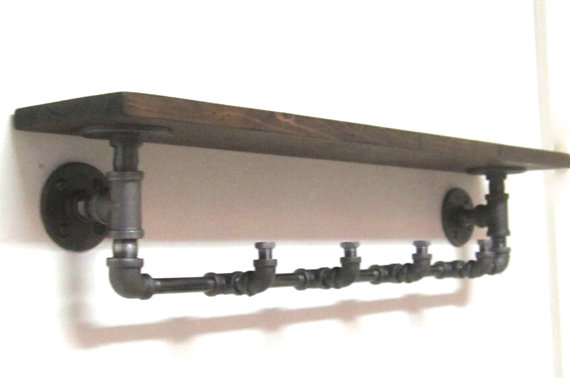 industrial pipe coat rack with shelf rohr kleiderst nder kleiderst nder und rohre. Black Bedroom Furniture Sets. Home Design Ideas