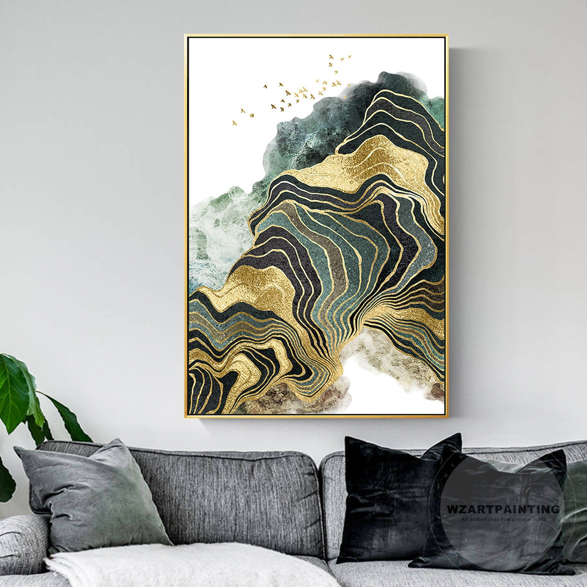 Modern Abstract Gold Green Line Bird Mountain Print Painting On Canvas Seascape Framed Wall Art Pictures For L Canvas Painting Art Pictures Modern Art Abstract