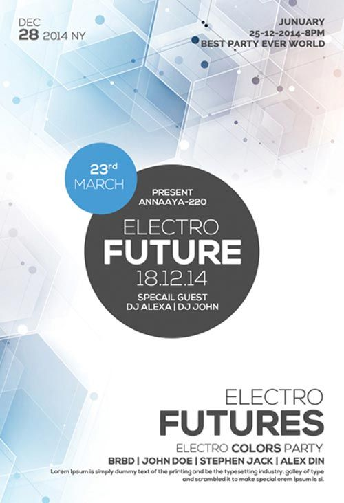 Free Future Electro Party Flyer Template - http\/\/freepsdflyer - party flyer