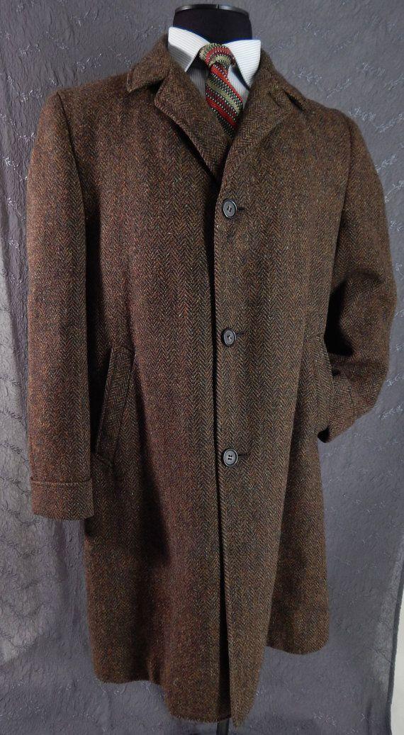 Vintage 1960 S Mens Herringbone Tweed Coat Brown Large Xl