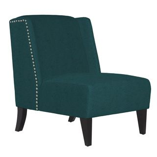 angelo:HOME Barton Parisian Teal Blue Velvet Armless Wingback Chair - Overstock™ Shopping - Great Deals on ANGELOHOME Living Room Chairs