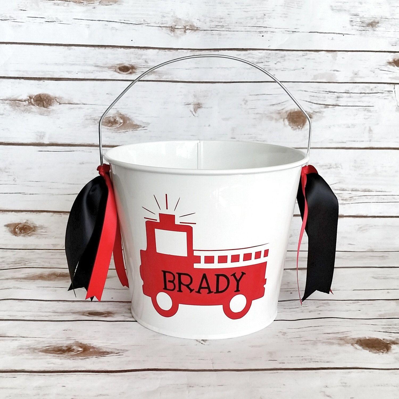 Fire truck Bucket - Easter bucket - personalized bucket - Fire ...