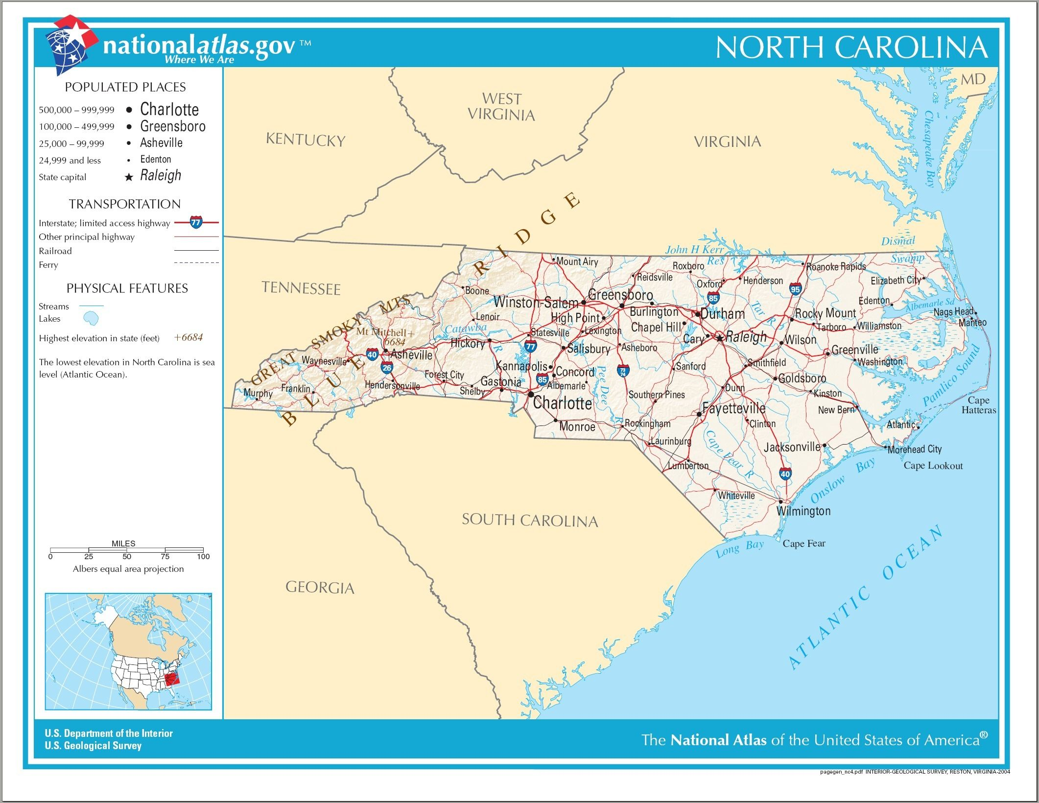 North Carolina United States Of America North Carolina Map - North-carolina-map-us