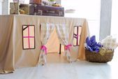 Décorations de fête dété  Table playhouse Tablecloth house Kids teepee Girls birthday party decoration Table tent Kids tente Tablehouse