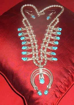Squash Blossom Necklace & Earrings Set by Doris Smallcanyon, Navajo - a very wearable size of  Squash Blossom Necklace.