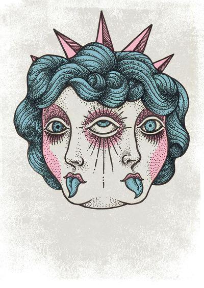 Ice Cream Janus Art Print By Johan Renklint Society6 Hippie Art Psychedelic Art Art Sketches